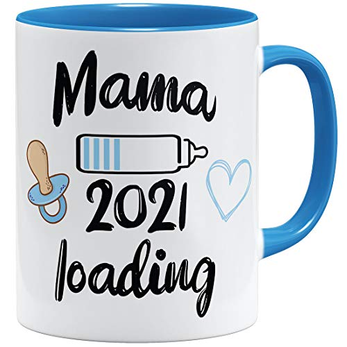 OM3® Mama Loading 2021 Tasse | Keramik Becher | 11oz 325ml | Boy | Beidseitig Bedruckt | Hellblau