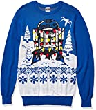 Star Wars Men's Ugly Sweater, R2D2&Christmas Lights/Royal, Large