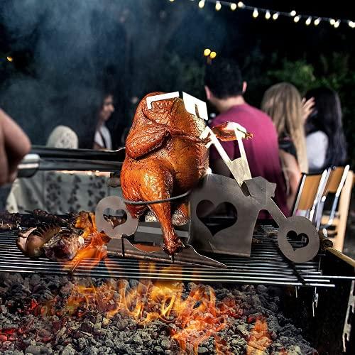DYBOHF Tragbarer Hühnerständer Bier American Motorrad BBQ Bierdosenhalter Hähnchen Ständer Grill aus Edelstahl mit Brille, Hähnchenhalter, Grillrost für den Innen- und...