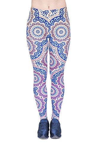 Leggings Fullprint Dames Legging Print Kleurrijke Workout Kleurrijke Volledig bedrukt ondoorzichtige broek Gym Fitness Sport Yoga Stretch Mandala zon