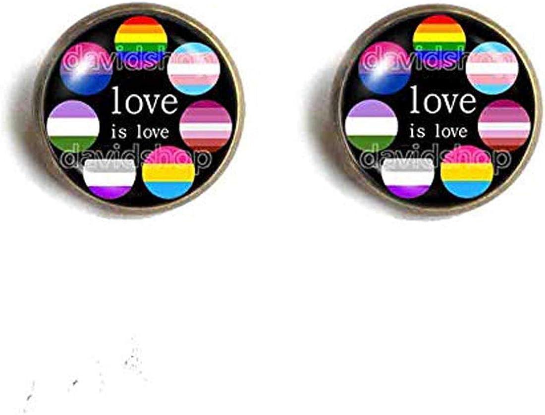 Fashion Jewelry Lesbian Genderqueer Trans Pan Asexual Bisexual Gay Pride Cuff Earring Bi LGBT Flag Rainbow Love is love Cosplay