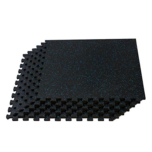 Velotas 3/8-Inch-Thick Interlocking Rubber Personal Fitness Mat, EVA Foam Puzzle Floor Tiles, for Home Gym Workouts and Bodyweight Exercises, 24 in x 24 in