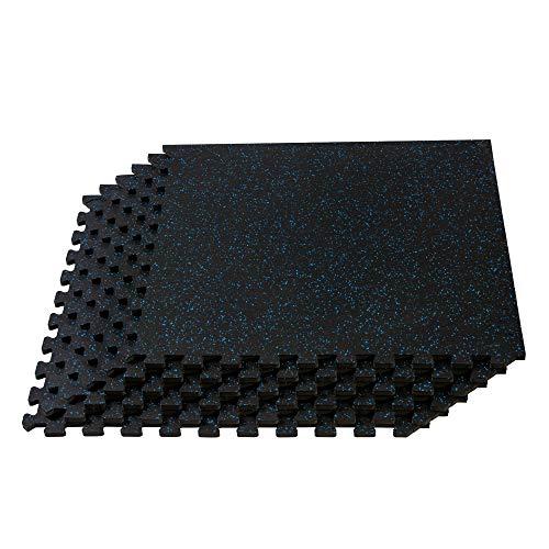Velotas Fitness-Bodenmatte mit Gummi-Spitze, ineinandergreifender Schaumstoff, erhältlich, Unisex-Erwachsene, Blue Fleck, 72 sq ft, Blauer Fleck, 72 Sq Ft (18 Tiles)