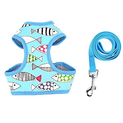 Yodio Correa para mascotas con diseño de conejo, pequeña y mediana, correa de nailon, accesorio para mascotas (azul -A)