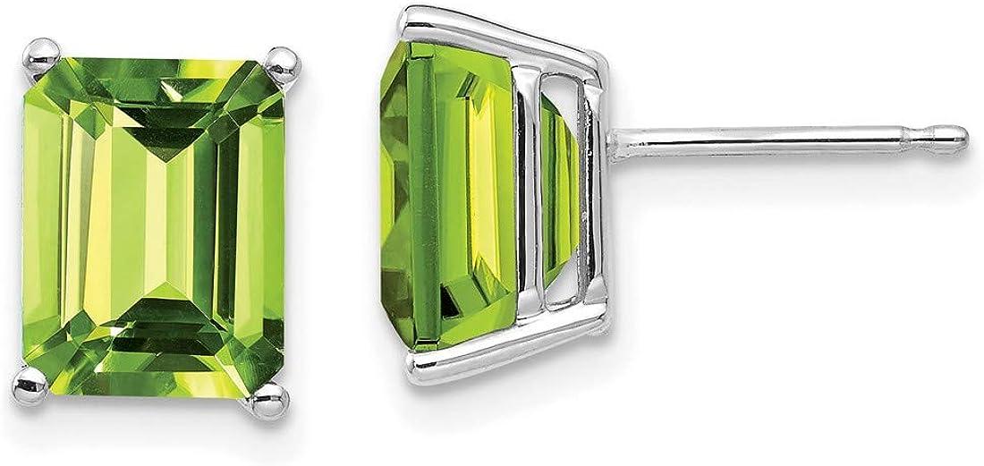 Emerald-Cut Peridot Stud Earrings in Real 14k White Gold