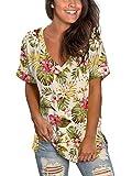 Floral Tunic Tops Women Sexy Elegant Shirts Hawaiian Plus Size Summer Tees Beige XXL