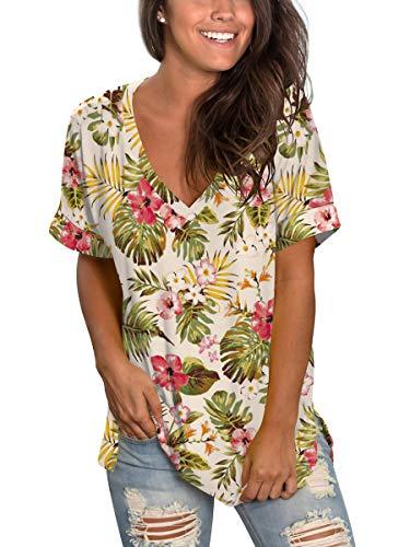 SAMPEEL Women's Floral Tops Short Sleeve V Neck Tee T Shirt Printed Side Split Tunic…