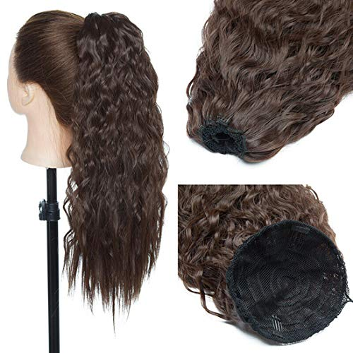 Pferdeschwanz Haarteil Clip in Extensions mit Kordelzug Lang Haarverlängerung Extension Natürliches Afro Lockige Ponytail Mittelbraun