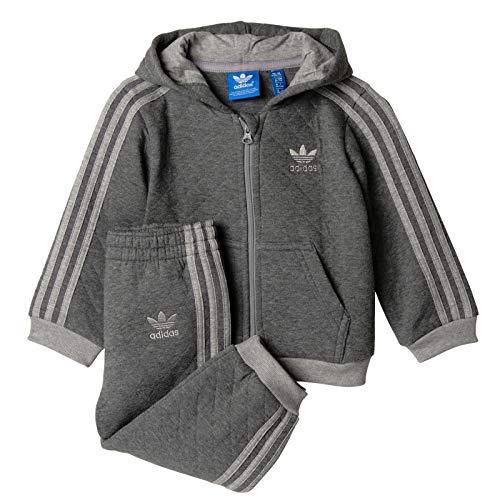 adidas Kinder Jungen Jogger Trainingsanzug Set Sweatjacke + Hose GRAU WARM, Größe:74, Farbe:Grau