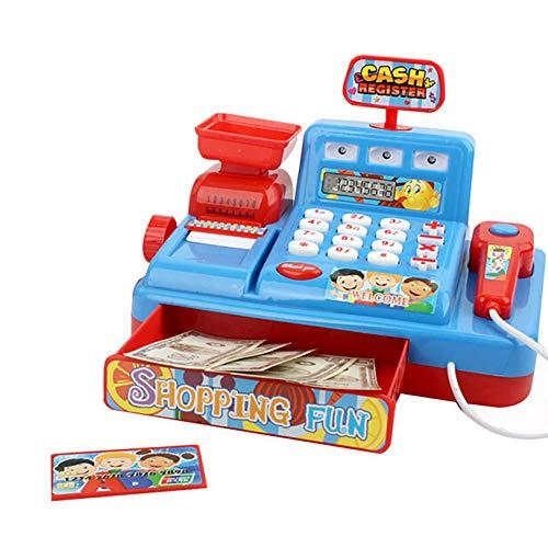 dontdo Juguetes educativos de la casa del juego de los niños, música simulada del niño caja registradora del mercado de la luz de los niños juego de roles rompecabezas juguete regalo azul