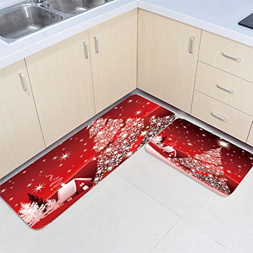 SUN-Shine Kitchen Rug Sets 2 Piece Non-Slip Kitchen Mats and Rug Red Merry Christmas Tree Bright Country Winter Farmhouse Decorative Area Runner Rubber Backing Carpets Floor Doormat