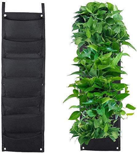 XGZ - Jardinière à suspendre - 7 poches verticales à fixation murale - Pots de fleur en rotin suspendus pour planter fraises, herbes et autres plantes