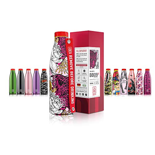 BBOOM Edelstahlflaschen, BPA-frei, isoliert, doppelwandig, 500 ml (Panther und Blumen)