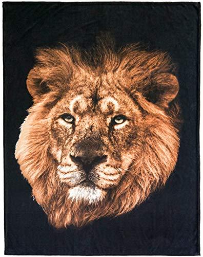 Brandsseller Tiermotiv Decke Kuscheldecke Tagesdecke Wohndecke 150x200 cm Motiv: Löwe
