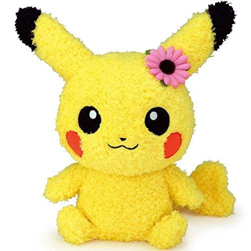 Sekiguchi Pokémon Female Pikachu with Flower MokoMoko Plush Series, 9'