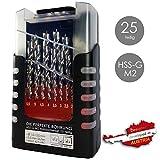 WeLiQu Die perfekte Bohrung HSS-G M2 Holzbohrer-Set 25-teilig 1-13mm 0,5mm Schritte - Länger scharfe Holzspiralbohrer