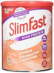 Meal replacement powder shake. Replace 1 to 2 meals per day as part of the SlimFast 3.2.1. Plan Every serving contains 15g protein and 23 essential vitamins and minerals Just add 250 ml skimmed milk to each serving No added sugar Strawberry flavour