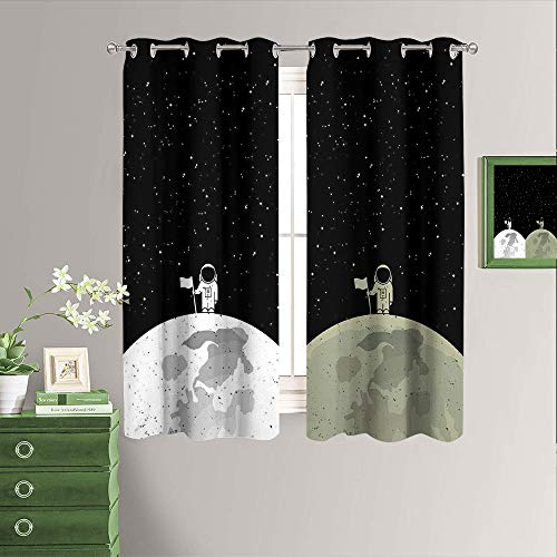 Cartoon Astronaut Room Darkening Blackout Window Curtains Set of Two Panels Grommet Living Room Curtains W72 x L63 Inch