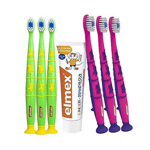 elmex Kinder Set mit Zahnpasta & Zahnbürste - besonderer Kariesschutz für Milchzähne, 2 - 6 Jahre