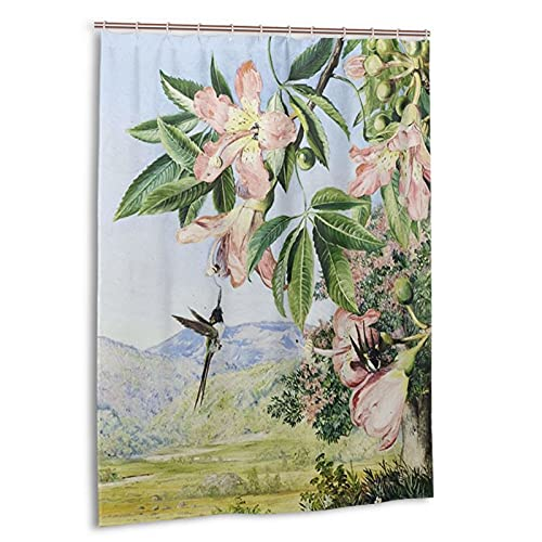 Watercolor Coral Tree and Double Crested Humming Birds Shower Curtain, for Bathroom Waterproof Shower Curtain, Machine Washable, with 12 Hooks 55 X 72 Inches