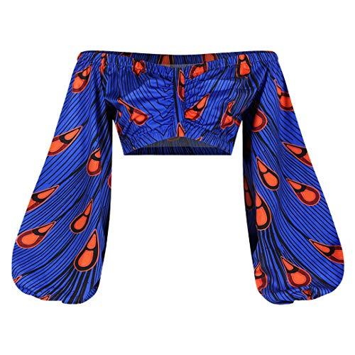 jascaela Women's Boho African Print Off Shoulder Long Lantern Sleeve Crop Top Sexy Slim Tops Ultra-Short Blouse Shirt(Blue)
