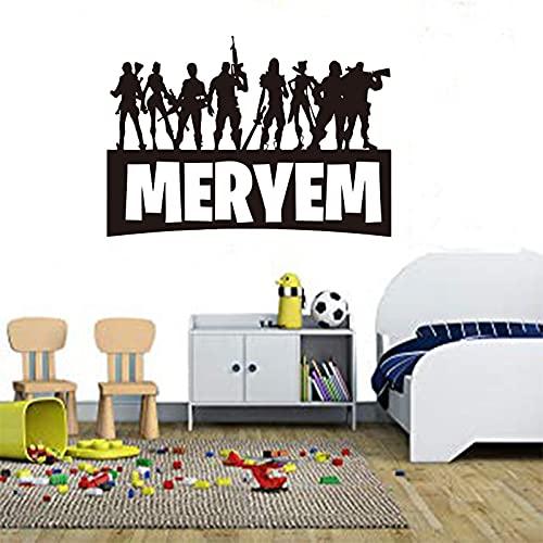 Adesivi murali personaggi del gioco popolari adesivi con nome della stanza dei bambini adesivi per la decorazione della parete della camera da letto A2 40x59cm