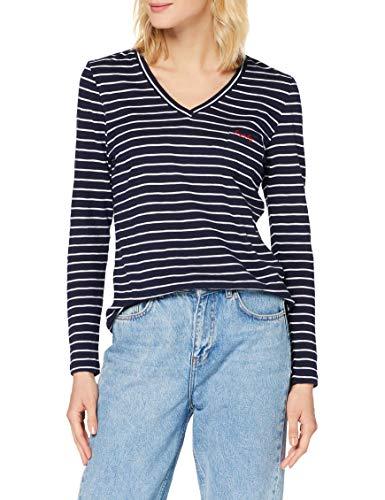 Superdry Womens Scripted Striped L/S Vneck Tee T-Shirt, Navy Stripe, S (Herstellergröße:10)