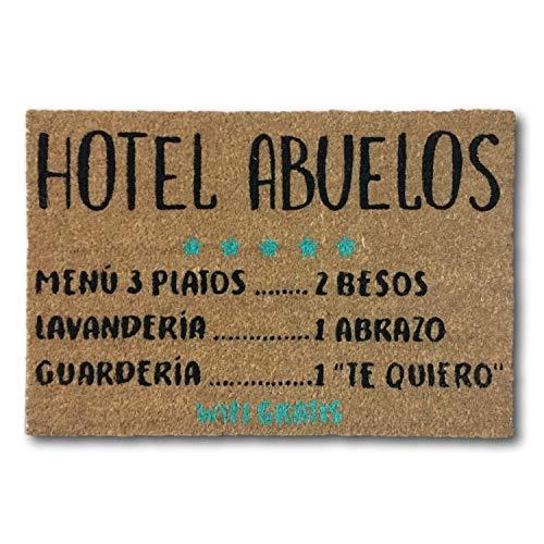 koko doormats Felpudo Entrada para casa y Jardin, felpudos Entrada casa Originales y Divertidos, 40x60x1.5 cm, Coco con Base Antideslizante de PVC (Hotel Abuelos)