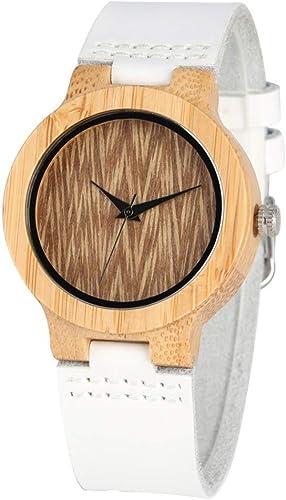 DYH&WW Montres Montre en Bois de Bambou Femmes Naturelle légère Montre-Bracelet Simple Horloge Femmes Blanc