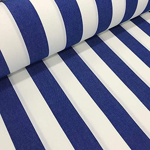 Kt KILOtela Tela acrílca de toldo con Acabado en teflón - Ancho 320 cm - Resistente al Desgaste y UV - Tapicería Exterior - Largo a elección de 50 en 50 cm | Rayas de 5 cm, Azul