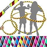 Flames 'N Games Hula Hoops de Kid - ¡Hula Hoops para niños de Calidad ponderada! ¡Ideal para Hacer Ejercicio, Bailar, Hacer Ejercicio y divertirse! Mismo día de despacho.! (Amarillo/Rojo Rutilar)