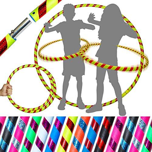 Pro Kids Hula Hoop Reifen für Kleine Erwachsene und Kinder (10 Farben Ultra-Grip/Glitter Deco) Faltbarer TRAVEL Hula Hoop ideal für Hoop Dance, Fitness Training & Zirkus! (Yellow / Rot Glitter)