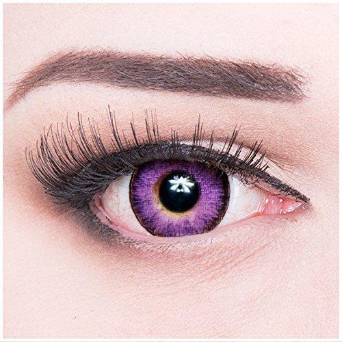 Meralens Ultra Violet Kontaktlinsen mit Behälter ohne Stärke, 1er Pack (1 x 2 Stück)