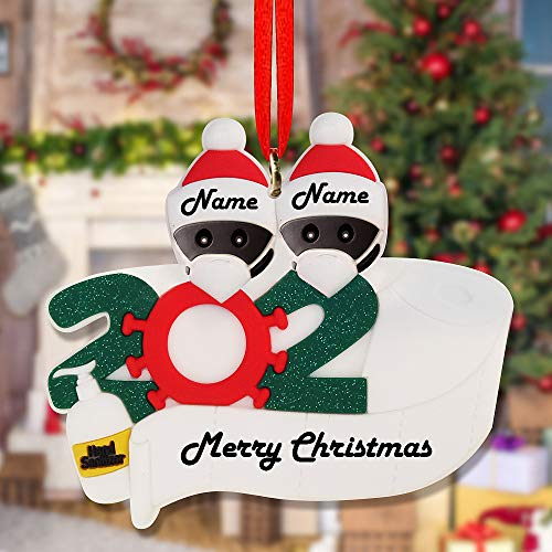 Easyocean 2021 Creative Christmas Tree Ornaments Home Hanging Decorations Cute Snowman Funny New Year Gifts for Families Friends Lovers(Family of 2, Black)
