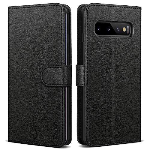 Vakoo Handyhülle für Samsung Galaxy S10 Hülle Leder Tasche Schutzhülle mit RFID Schutz für Samsung Galaxy S10 Hülle, Schwarz