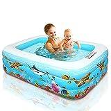 Tianbi Piscina inflable para niños, piscina inflable para niños y adultos, piscina grande de PVC, piscina inflable de verano con bomba de aire, para exteriores, jardín, patio trasero