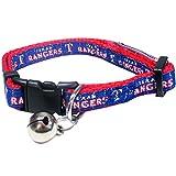 MLB CAT COLLAR. - TEXAS RANGERS CAT COLLAR. - Strong & Adjustable BASEBALL Cat Collars with Metal Jingle Bell