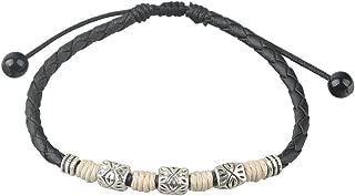 Ancient Tribe Handmade Adjustable Black Leather Anklet,Women's