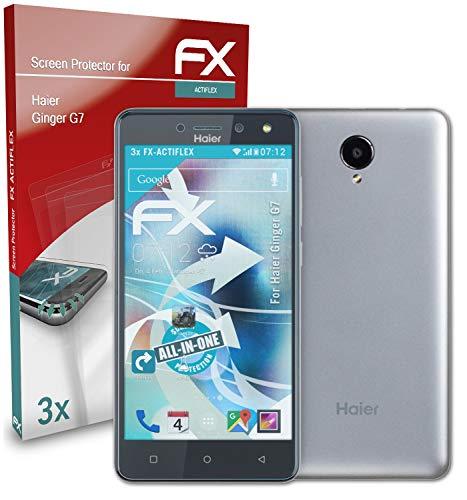 atFolix Schutzfolie kompatibel mit Haier Ginger G7 Folie, ultraklare & Flexible FX Bildschirmschutzfolie (3X)