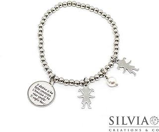 Bracciale elastico con perle acciaio e frase sulle Amiche Sorelle