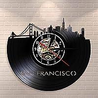 XDGサンフランシスコスカイラインウォールアートUSAS.F.街並み壁時計時計ゴールデンゲートブリッジヴィンテージビニールレコード時計旅行ランドマーク(サイズ:12インチカラー:ブラック)