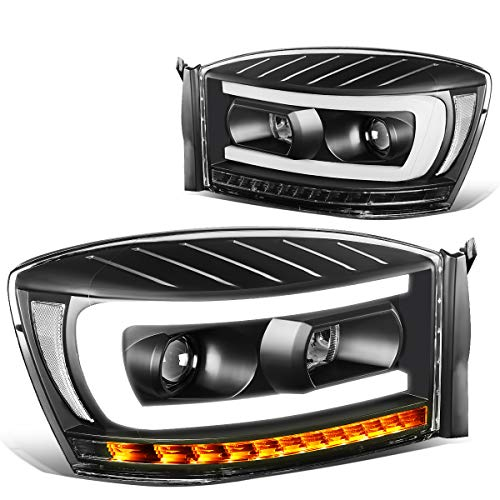Pair Black Clear Side LED DRL C-Bar Sequential Turn Signal Projector Headlight Replacement for Dodge Ram Truck 06-09