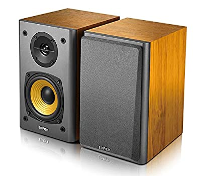 "Edifier R1000T4 Active 2.0 Powered Bookshelf Speaker System For TV, PC, Laptop, Computer - 24W Total Power Output - 4"" Bass Driver - Brown from Edifier"