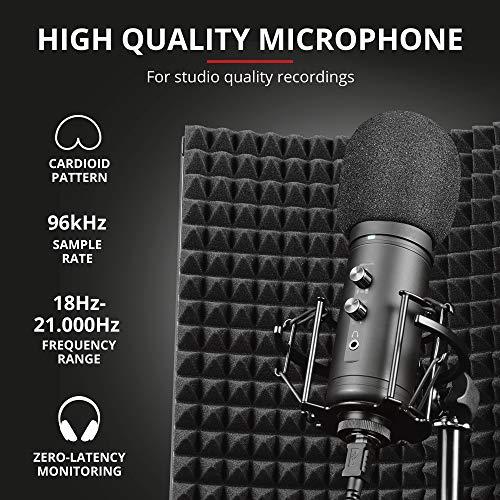 Trust Gaming Mikrofon mit Schaumstoff-Reflektor GXT 259 Rudox - USB Studio Microphone mit Isolationsschutz, Popfilter, für Aufnahmen, Gesang, Musik, PC, Podcast, Streaming, YouTube - schwarz