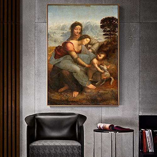 YB La Virgen y el Niño con Saint Anne Famosos Cuadros en Lienzo Leonardo da Vinci Wall Art Canvas Prints Decor 50x75cm sin Marco