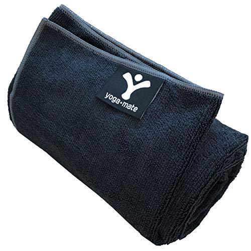 The Perfect Yoga Towel - Super Soft, Sweat Absorbent, Non-Slip Bikram Hot Yoga Towels   Perfect Size for Mat - Ideal for Hot Yoga & Pilates! (Black w/ Grey Trim)