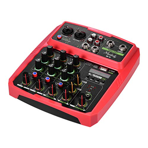 Montloxs B4 Tragbarer 4-Kanal-Audiomischer USB-Mischpult Unterstützt BT-Verbindung mit Soundkarte Integrierte 48-V-Phantomspeisung