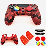 Silicone Skin Cover for Ps4 Controller (1pc Anti-Slip Case, 1 Pair L2 R2 Trigger Extender, 4pcs Thumb Grips,4pcs LED Light Bar Decal) Protector for DualShock PS4/ Slim/Pro Controller (Red Camouflage)