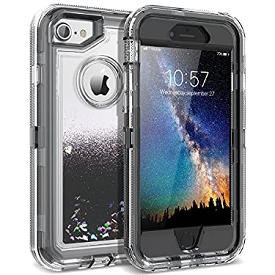 iPhone 8 Case, iPhone 7 Case, Dexnor Glitter 3D Bling Sparkle Flowing Liquid Quicksand Case Transparent 3 in 1 Shockproof TPU Silicone + PC Protective Defender Cover for iPhone 8/7/ 6s/ 6