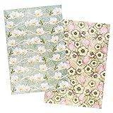 Ideen mit Herz 2 hojas de papel de arroz, papel de decoupage elegante, DIN A4, 2 diseños diferentes, vintage, Navidad, etc. (flores 16).
